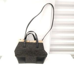 Cole Haan Wool Rabbit Fur Leather Purse Bag